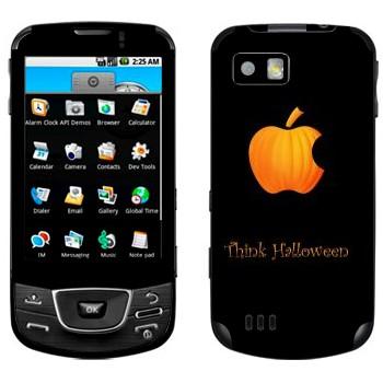 Виниловая наклейка «Лого Apple в виде тыквы - Хэллоуин» на телефон Samsung Galaxy