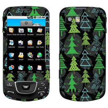 Виниловая наклейка «Новогодние деревья узор» на телефон Samsung Galaxy
