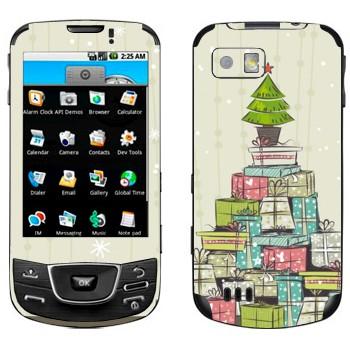 Виниловая наклейка «Новогодние подарки» на телефон Samsung Galaxy