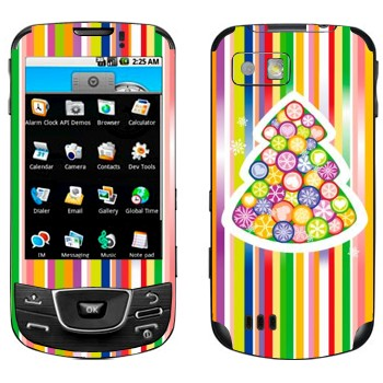 Виниловая наклейка «Новогодняя елка из разноцветных снежинок» на телефон Samsung Galaxy