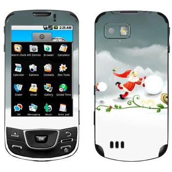 Виниловая наклейка «Санта-Клаус делает снеговика» на телефон Samsung Galaxy