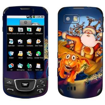 Виниловая наклейка «Санта-Клаус и веселые олени» на телефон Samsung Galaxy