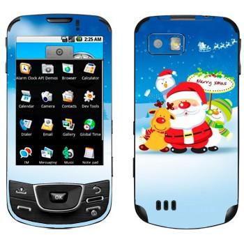 Виниловая наклейка «Санта, олень и снеговики» на телефон Samsung Galaxy