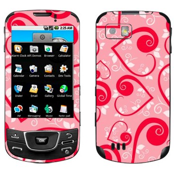 Виниловая наклейка «Сердечки на розовом ко Дню Святого Валентина» на телефон Samsung Galaxy