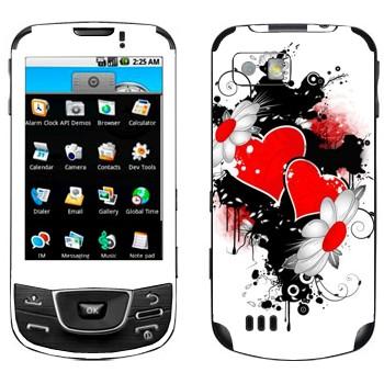 Виниловая наклейка «Сердца и ромашки - День Святого Валентина» на телефон Samsung Galaxy