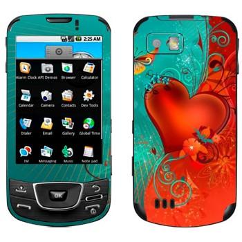 Виниловая наклейка «Сердце сине-красный фон - День Святого Валентина» на телефон Samsung Galaxy