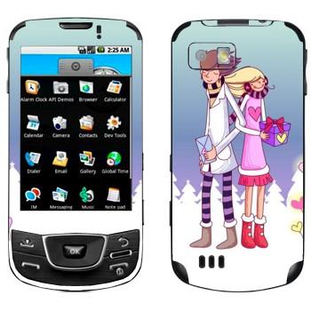 Виниловая наклейка «Влюбленные с подарками - День Святого Валентина» на телефон Samsung Galaxy