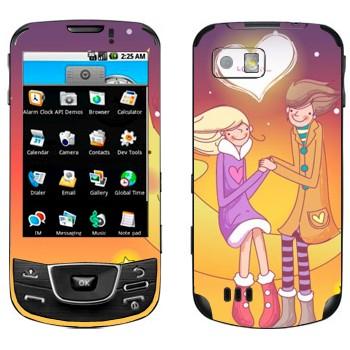 Виниловая наклейка «Влюбленные сидят на Луне - День Святого Валентина» на телефон Samsung Galaxy