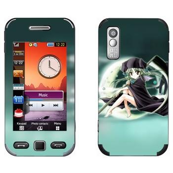 Виниловая наклейка «Девочка на фоне Луны» на телефон Samsung S5230