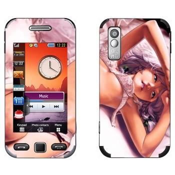 Виниловая наклейка «Девушка аниме в нижнем белье на кровати» на телефон Samsung S5230