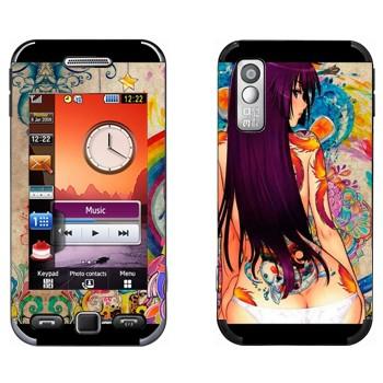 Виниловая наклейка «Девушка в цветных рисунках» на телефон Samsung S5230