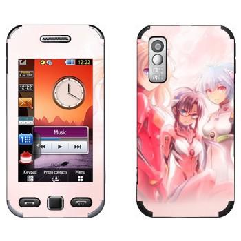 Виниловая наклейка «Девушки - Евангелион» на телефон Samsung S5230