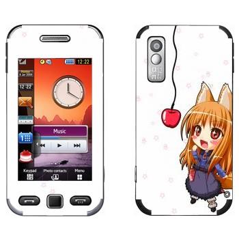 Виниловая наклейка «Холо и яблоко - Spice and wolf» на телефон Samsung S5230