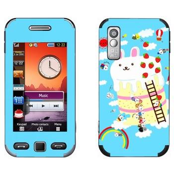 Виниловая наклейка «Кролик на пироге - Kawaii» на телефон Samsung S5230