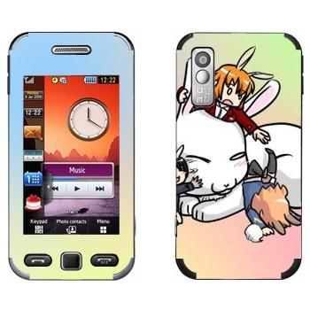 Виниловая наклейка «Милый белый кролик» на телефон Samsung S5230