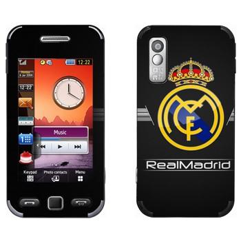 Виниловая наклейка «Реал Мадрид эмблема на черном фоне» на телефон Samsung S5230