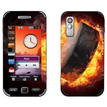 Виниловая наклейка «Шайба в огне» на телефон Samsung S5230
