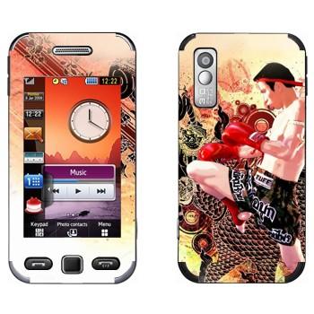 Виниловая наклейка «Удар коленом - Муай Тай» на телефон Samsung S5230