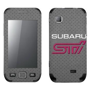 Виниловая наклейка «Надпись Subaru STI на сером фоне» на телефон Samsung Wave 525