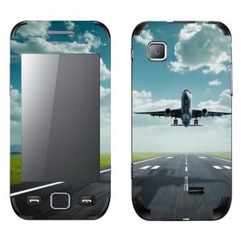 Виниловая наклейка «Взлетающий самолет» на телефон Samsung Wave 525